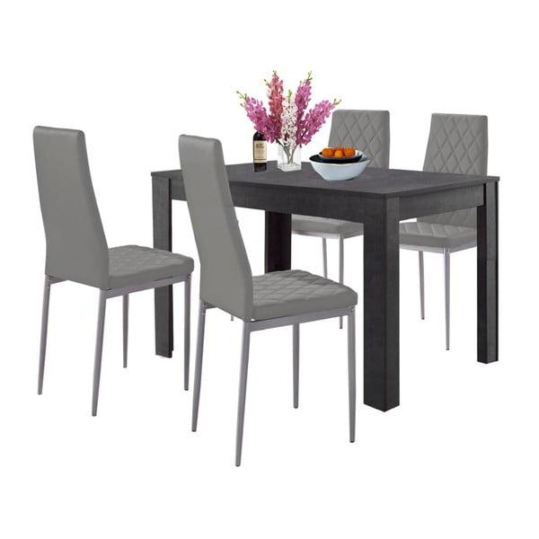 Set jídelního stolu v betonovém dekoru a 4 šedých jídelních židlí Støraa Lori and Barak, 120x80cm