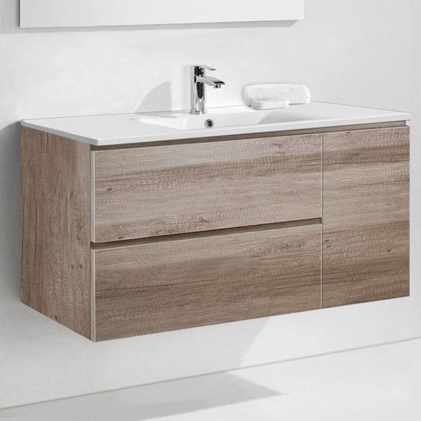 Koupelnová skříňka s umyvadlem a zrcadlem Happy, dekor dubu, 120 cm