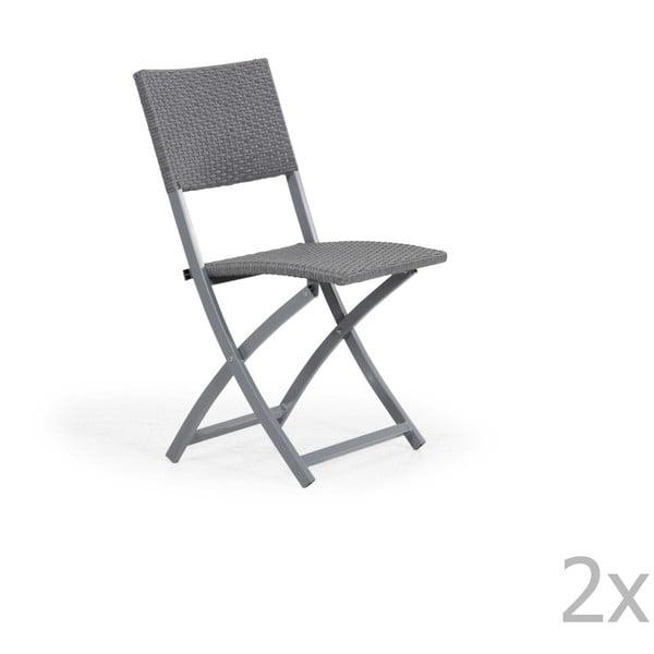 Sada 2 šedých skládacích zahradních židlí Brafab Ninja