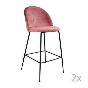 Set 2 scaune bar tapițate House Nordic Lausanne, roz-negru