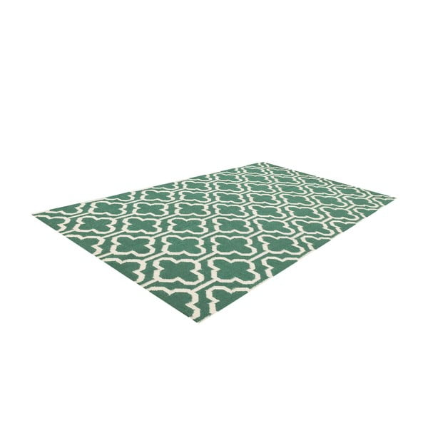 Vlněný koberec Penelope Green Ivory, 125x185 cm