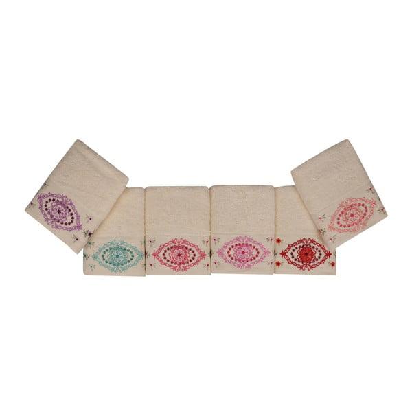 Sada 6 ručníků z čisté bavlny Symbiosis, 50 x 90 cm