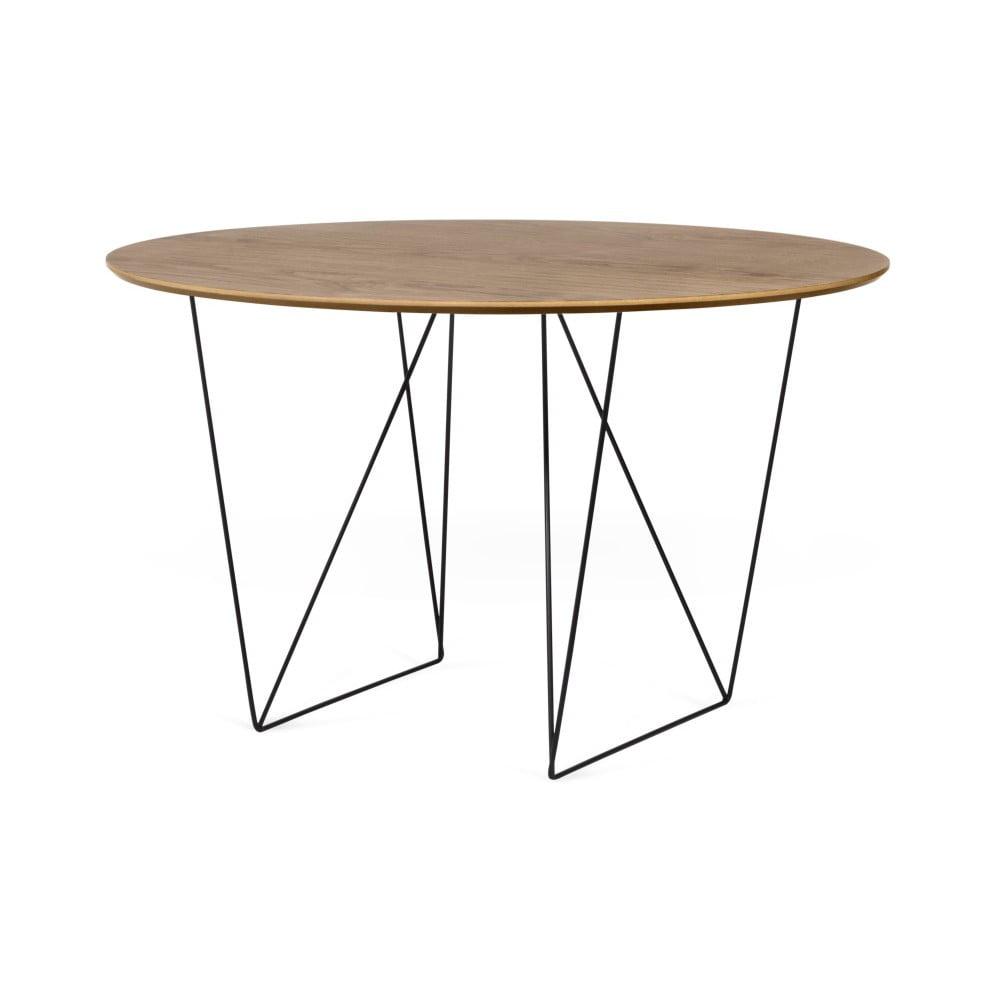 Jídelní stůl v dekoru ořechového dřeva s černým podnožím TemaHome Row, Ø120cm