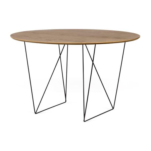 Jídelní stůl v dekoru ořechového dřeva s černým podnožím TemaHome Row, ⌀ 120cm