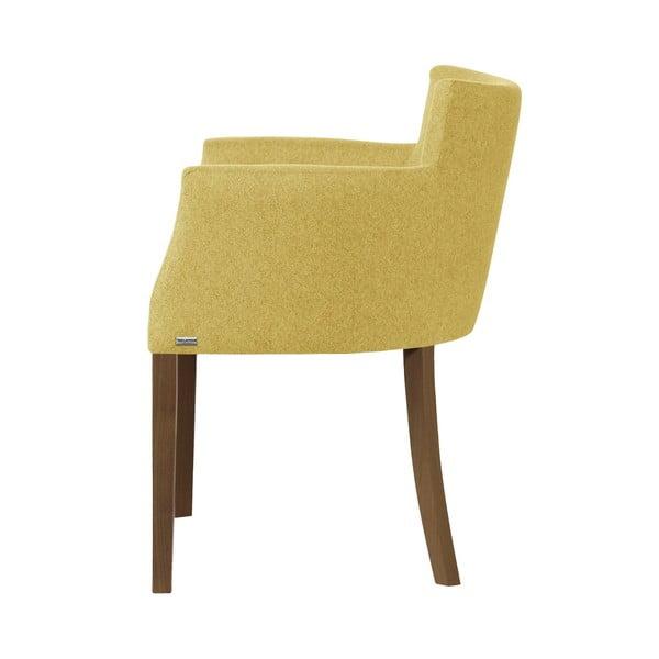 Žlutá židle s tmavě hnědými nohami z bukového dřeva Ted Lapidus Maison Santal