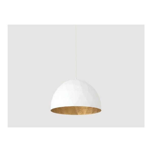 Bílé závěsné svítidlo s detailem ve zlaté barvě Custom Form Leonard, ø 50 cm