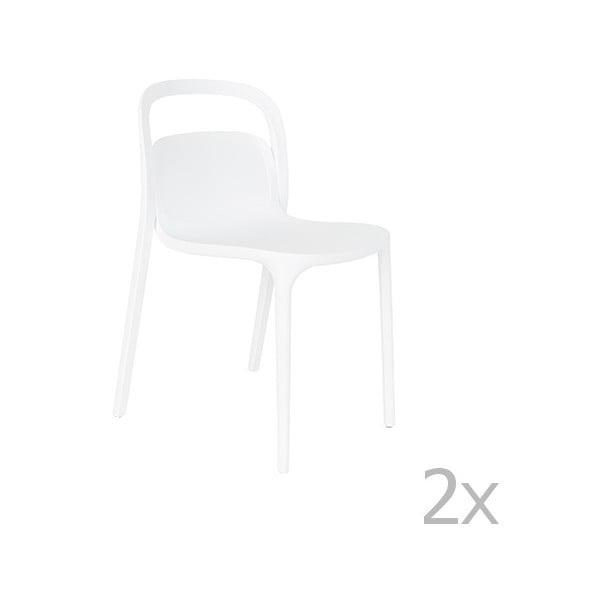 Sada 2 bílých židlí White Label Rex