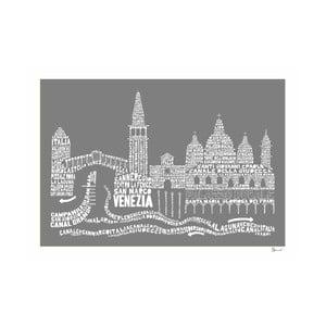 Plakát Venezia Grey&White, 50x70 cm