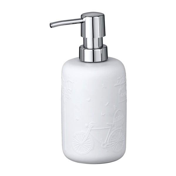 Bílý keramický dávkovač mýdla Wenko Garden, 400 ml