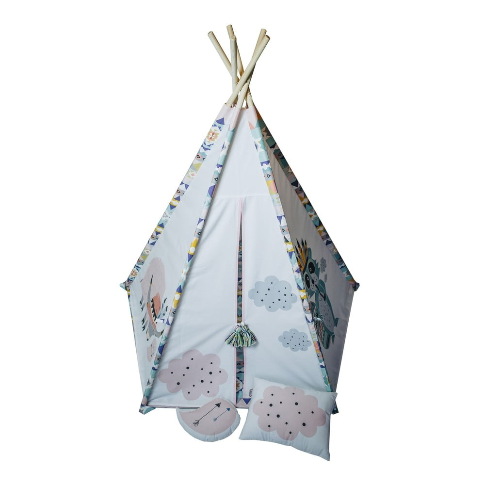 Modro-růžové pětiúhelníkové teepee VIGVAM Design Cute Tribe