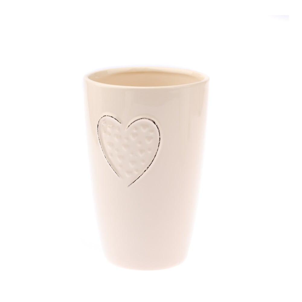 Krémová keramická váza Dakls Heart, výška 17,8 cm Dakls