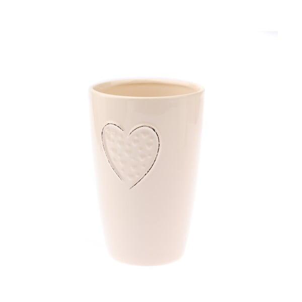 Vază din ceramică Dakls Heart, înălțime 17,8 cm, crem
