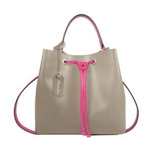 Béžová kožená kabelka s fuchsiovým detailem Maison Bag Lexy