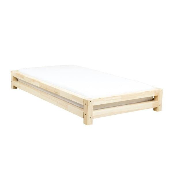 Łóżko dziecięce z lakierowanego drewna świerkowego Benlemi JAPA, 90x180 cm