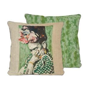 Oboustranný polštář Madre Selva Frida Collage Green, 45x45cm