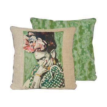 Față de pernă reversibilă din amestec de in Madre Selva Frida Collage Green, 45 x 45 cm
