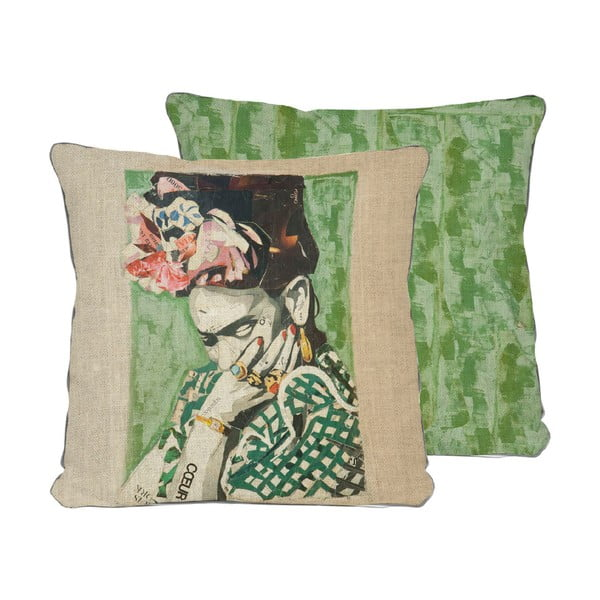 Frida Collage Green kétoldalas párnahuzat, 45 x 45 cm - Madre Selva