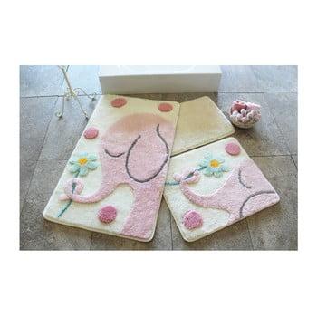 Set 3 covorașe de baie Alessia Buyuk Fil Pink de la Chilai Home by Alessia