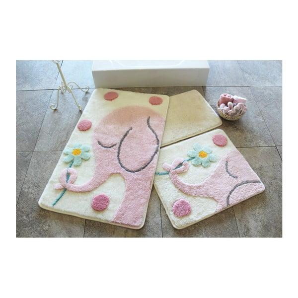 Sada 3 koupelnových předložek Buyuk Fil Pink