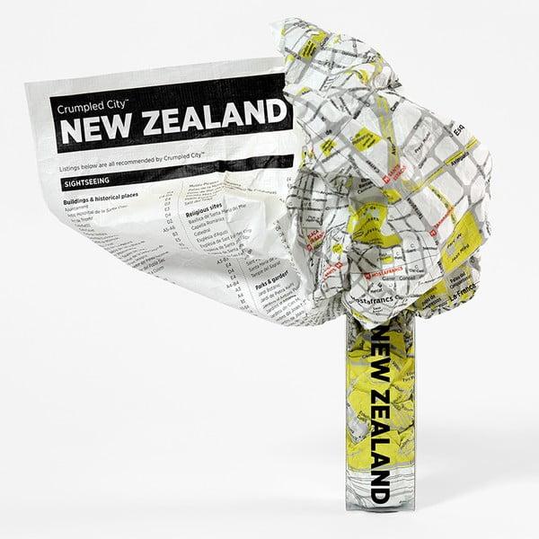Zmačkaná cestovní mapa Nový Zéland