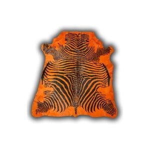 Kožená předložka Normand Cow Zebra Orange, 170x190 cm