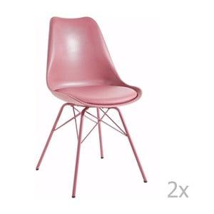 Sada 2 růžových jídelních židlí 13Casa Marianne