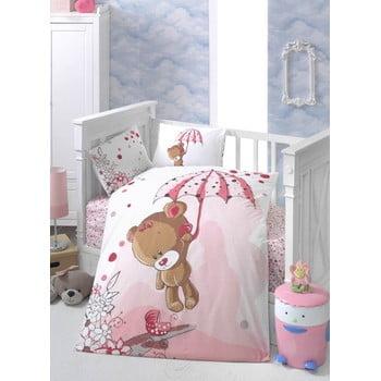 Lenjerie de pat pentru copii cu cearșaf și 2 fețe de pernă Ton Ton, 100 x 150 cm imagine