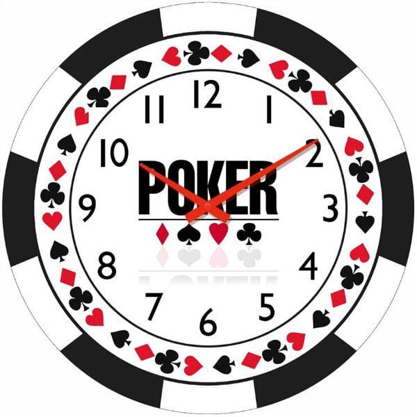 Skleněné hodiny Poker, 34 cm