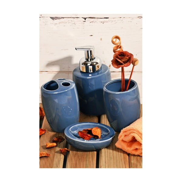 Ivett kék fürdőszobai kiegészítő szett, 4 darabos