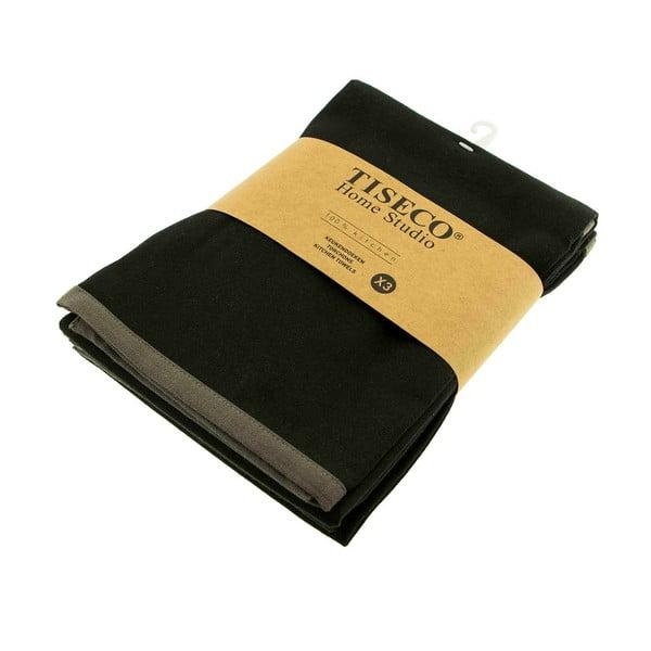 Komplet 3 czarnych bawełnianych ścierek Tiseco Home Studio, 50x70 cm