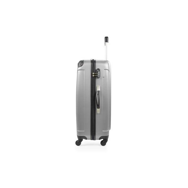 Stříbrný cestovní kufr na kolečkách Bluestar,75l