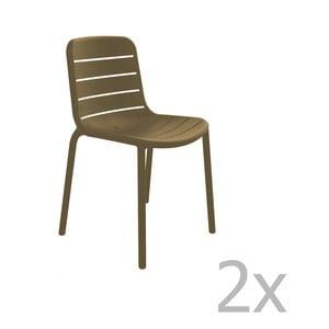 Sada 2 čokoládově hnědých zahradních židlí Resol Gina Garden