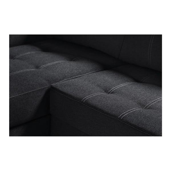 Černá rohová rozkládací pohovka s úložným prostorem INTERIEUR DE FAMILLE PARIS Succès, levý roh