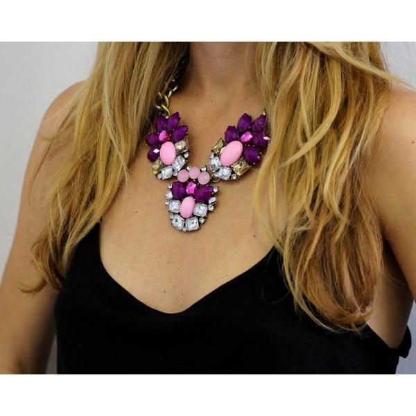 Náhrdelník s fialovými a růžovými krystaly