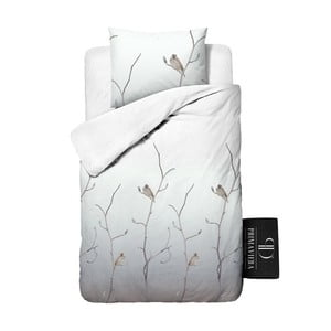 Povlečení z keprové bavlny Dreamhouse Bird Tree White, 140x220cm