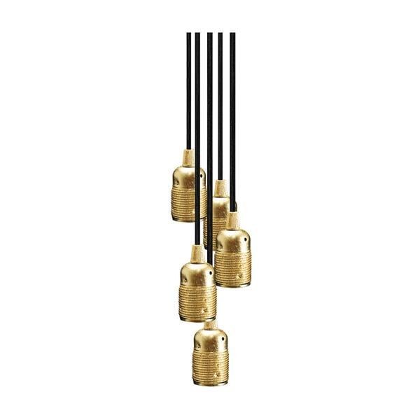 Závěsné svítidlo s 5 černými kabely a objímkou ve zlaté barvě Bulb Attack Uno Group