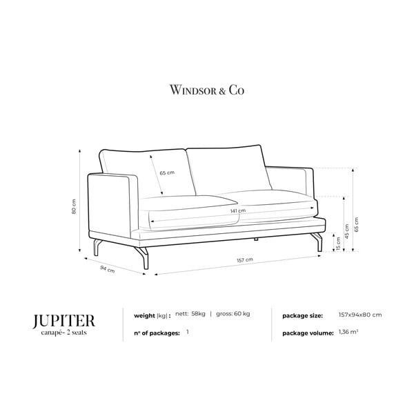 Tmavě šedá dvoumístná pohovka s podnožím ve zlaté barvě Windsor & Co Sofas Jupiter