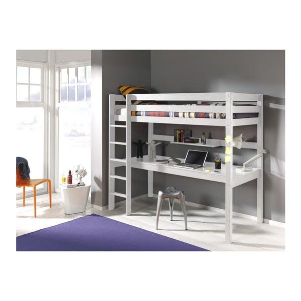 Bílé patrové lůžko s pracovním stolem Vipack Pino, 200 x 105 cm