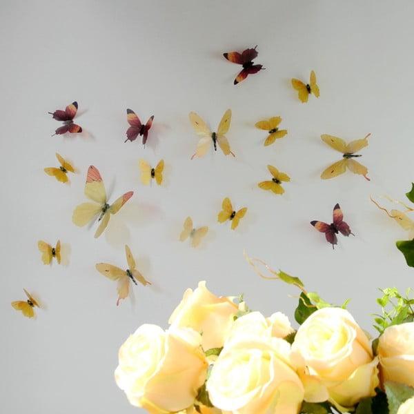 Trojrozměrné samolepky motýlků, barva žlutá