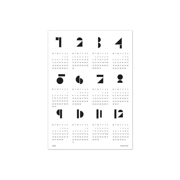 Nástěnný kalendář SNUG.Toy Blocks 2017, bílý