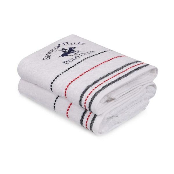 Sada 2 bílých ručníků na ruce Polo Club, 50x90cm