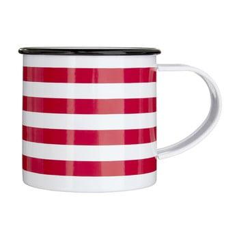 Cană metalică Premier Housewares Red Stripes, 350 ml, ab-roșu