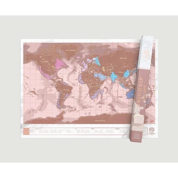 Set pentru călătorii cu hartă de răzuit Luckies of London Travel Millenial, rose gold