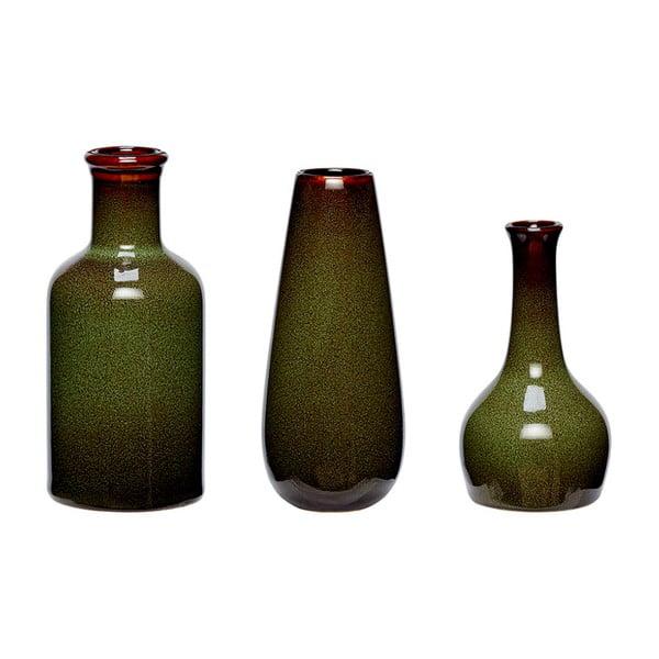 Set 3 vaze din ceramică Hübsch Frej, verde