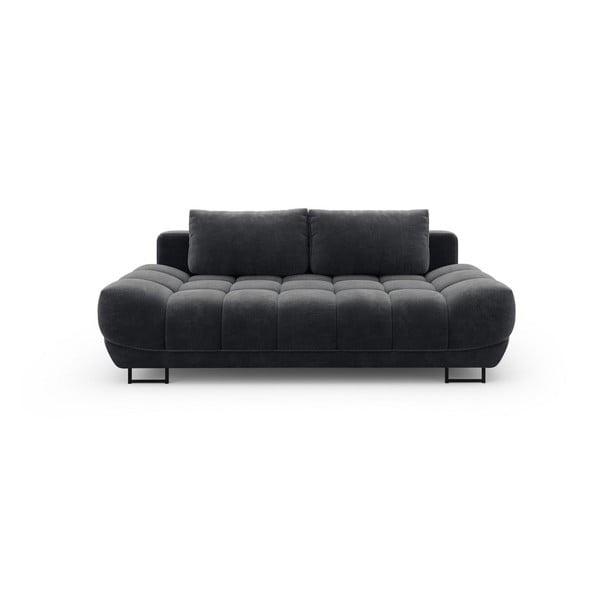 Tmavě šedá třímístná rozkládací pohovka se sametovým potahem Windsor & Co Sofas Cirrus