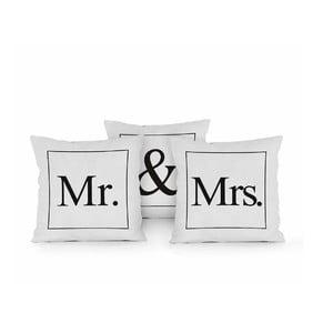Sada 3 polštářů Really Nice Things Mr & Mrs, 45x45cm