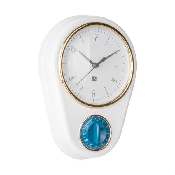 Bílé nástěnné hodiny s kuchyňskou minutkou PT LIVING