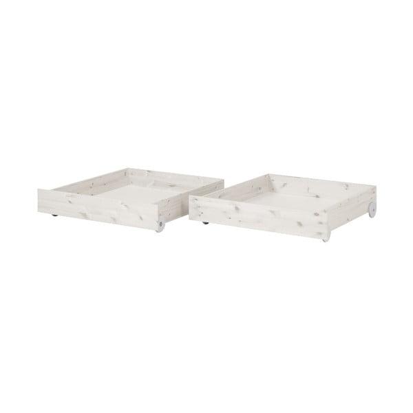 Zestaw 2 białych szuflad z drewna sosnowego do łóżka dziecięcego Flexa Classic