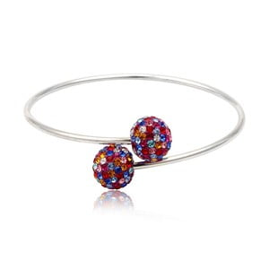 Stříbrný náramek s barevnými krystaly Swarovski Elements Crystals Bangle