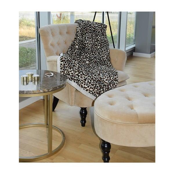 Odkládací stolek s podnožím ve zlaté barvě a hnědou mramorovou deskou RGE Accent